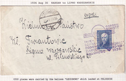 POLAND 1936 Moscicki Balloon Flight Registered Cover - Briefe U. Dokumente
