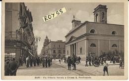 Puglia-bari Via Vittorio Veneto E Chiesa S.ferdinando Animatissima Affollata Veduta Anni 30 (f.picc./v.retro) - Bari