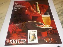 ANCIENNE PUBLICITE LES CHOSES PRECIEUSES  KRITER 1972 - Alcohols