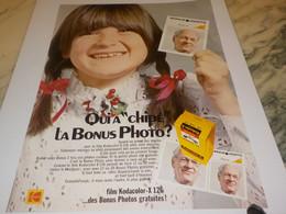 ANCIENNE PUBLICITE LA BONUS PHOTO KODACOLOR 1972 - Fotografía