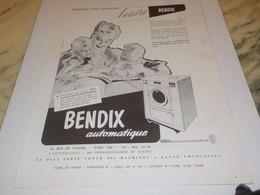 ANCIENNE  PUBLICITE AUTOMATIQUE  MACHINE A LAVER  BENDIX 1952 - Technical