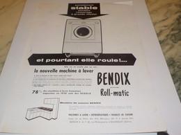 ANCIENNE  PUBLICITE ELLE ROULE  MACHINE A LAVER  BENDIX 1959 - Posters