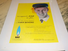 ANCIENNE  PUBLICITE TARIF BINOME LE  GAZ  GDF 1959 - Posters