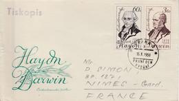TCHECOSLOVAQUIE FDC 1959 CELEBRITES HAYDN ET DARWIN - FDC