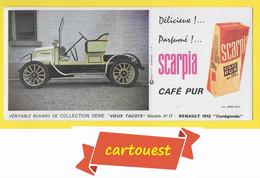 """BUVARD BLOTTING PAPER ♥♥☺♣♣ Café Pur SCARPIA Voiture N°17 RENAULT 1912 """" CUNEGONDE """" ♦♦☺♣♣ Série Vieux Tacots - Automotive"""