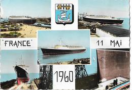 BATEAU - PAQUEBOT FRANCE - Le 11 Mai 1960 - Vues - Blason - Steamers