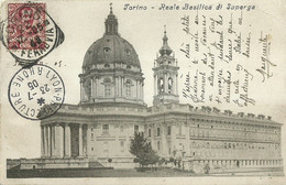 "9272 "" TORINO-REALE BASILICA DI SUPERGA "" ANNULLI MISTI- FOTO ORIGINALE-CARTOLINA SPEDITA 1905 - Chiese"