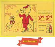 BUVARD BLOTTING PAPER ♥♥☺♣♣ Gri Gri Le Loup Et L'Agneau ♦♦☺♣♣ Illustrateur POLOTEC Jus De Fruits Aux Vitamines - Alimentare