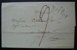 74 / Yvetot 1818 Marque 29 X 12 Sur Lettre Pour Valence, Sans Correspondance - 1801-1848: Precursori XIX