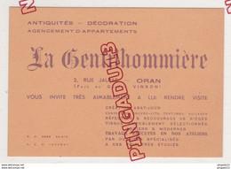 Au Plus Rapide Algérie Oran Carte De Visite La Gentilhommière Antiquités Décoration - Visiting Cards