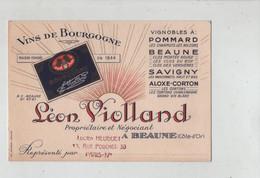 Violland Vins De Bourgogne Pommard Beaune Savigny Aloxe Corton Heuguet Heuguel Paris - Visiting Cards