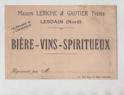Bière Vins Spiritueux Leriche Gautier Lesdain Crèvecoeur - Visiting Cards