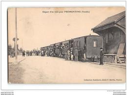 CPA 85 Challans ? Depart Pour Fromentine Et Le Train Tramway Ligne De Challans Fromentine - Challans