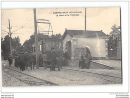 CPA 87 Compreignac La Gare Et Le Tramway Ligne Limoges St Sulpice Les Feuilles - Other Municipalities