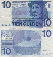 (B0137) NETHERLANDS, 1968. 10 Gulden. P-91b. VF-/F+ - [2] 1815-… : Kingdom Of The Netherlands