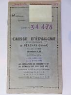 397 - Livret De Caisse D'Epargne - Périodes 1957/1963 - Pézenas (Hérault) - Banca & Assicurazione