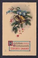 Ansichtskarte Grußkarte Neujahr Tannenzweig Mit Glocken Stempel Saarabstimmung  - Neujahr
