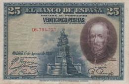 (B0141) SPAIN, 1928. 25 Pesetas. P-74b. F-/VG+ - [ 1] …-1931 : Prime Banconote (Banco De España)