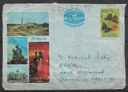 USED AIR MAIL AEROGRAMME MALAYSIA  TO PAKISTAN FOLDED COVER - Malaysia (1964-...)