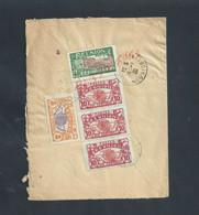 LETTRE BANDE DE 3 TIMBRES ECT DE LA RÉUNION 1930 POINTE DES GALETS MANUFACTURE D ARMES & CYCLES À SAINT ETIENNE FRANCE - Réunion (1852-1975)