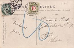 FRANCE 1907 CARTE POSTALE DE MONTELIMAR TAXEE EN SUISSE - 1900-29 Blanc