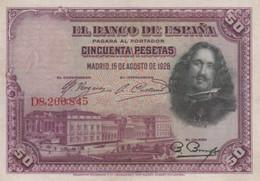 (B0346) SPAIN, 1928. 50 Pesetas. P-75b. XF-/VF+ - 50 Pesetas