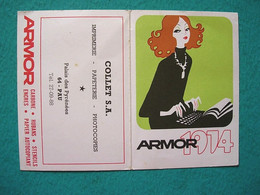 Petit Calendrier 1974 ARMOR Encres Stencils - Papeterie COLLET - Pau - Kalender