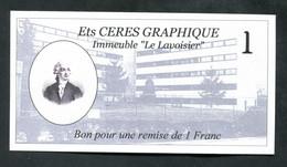 """Billet De Nécessité 1franc - Bon De Réduction """"Ets Cérès Graphique - Immeuble Le Lavoisier"""" à Herblay 95 Val D'Oise - Autres"""