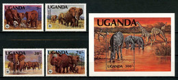 OUGANDA 1983 N° 316/319 Bloc 40 ** Neufs MNH Superbes C 28 € Faune Eléphants Zebre Animaux - Uganda (1962-...)