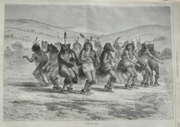 La Danse De L'ours - Page Originale 1874 - Prenten & Gravure