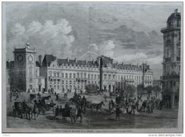 Le Nouveau Palais Du Ministère De La Guerre - Facade Principale Sur Le Boulevard Saint-Germain-  Page Original 1874 - Documenti Storici
