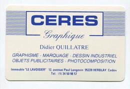 """Carte De Visite Plastique  """"Cérès Graphique"""" Graphisme, Objets Publicitaires à Herblay 95 Val D'Oise - Other"""