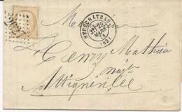 LETTRE 1874 AVEC TIMBRE 15 CT CERES ETCACHET TYPE 17 DE NEUFCHATEAU  (82) - GROS  CHIFFRES 2627 - - 1849-1876: Période Classique
