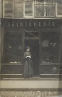 Themes Div-ref FF651-carte Photo - Commerce - Magasin - Devanture Teinturerie - Cachet Depart Paris - - Tiendas