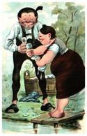 Attribué à Illustrateur O Huber, Couple Lessive - Illustratori & Fotografie