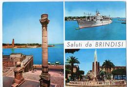 Saluti Da BRINDISI - Colonne Romane - Nave In Porto - Piazza Cairoli - Fontana Monumentale - Vedute - Brindisi
