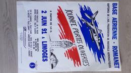 87 - LIMOGES- AFFICHE AVIATION BASE AERIENNE ROMANET-2 JUIN 1991- GARE BENEDICTINS -CREDIT AGRICOLE - Posters