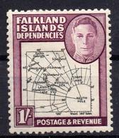 FALKLAND ISLANDS/1946/MH/SC#1L8/MAP OF FALKLAND ISLANDS / DEPENDENCIES / KING GEORGE VII / KGVII - Islas Malvinas