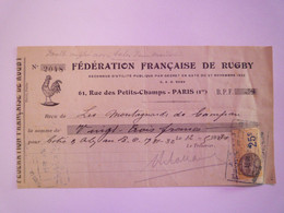 2020 - 7425  Fédération Française De Rugby  :  Reçu Des Montagnards De Campan Pour Adhésion Et Abon.  1931  XXX - Rugby