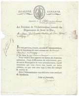 MARQUE POSTALE 72 VERSAILLES POUR MAGNY / 6 PLUVIOSE AN 7 ( 25 JANV 1799) / ENTETE - 1701-1800: Precursori XVIII