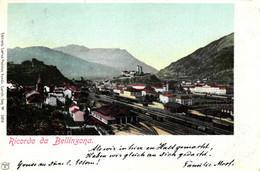 Bellinzona, Gesamtansicht Mit Bahnhof, Einfahrender Zug, 1900 - TI Tessin