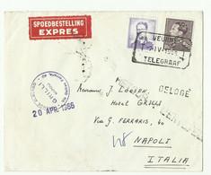 5Fr. Baudouin Lunettes + 10Fr. Poortman Obl. Télégraphique VEURNE TELEGRAAF T * T Sur Lettre Exprès Du 7-IV-1966 Vers Na - 1936-1951 Poortman