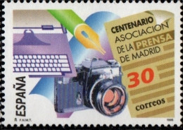 Spain 1995 Photo Camera, Typewriter, Newspaper 1 Value MNH  100 Year Press Association - Fotografia