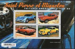SP & M 2020 - Bloc - Voitures Américaines ** (Corvette - Mustang - Firebird - Camarro) - Unused Stamps