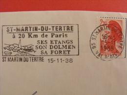 OBLITERATION FRANCAISE FLAMME NO 9714 ST MARTIN DU TERTRE EMISE EN 1988 - Preistoria