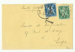 25 Et 50c. LION V Obl. Sc LIEGE 2 Sur Carte Du 29-IX-1945 Vers La Ville Et Griffe T - 16073 - Lettere