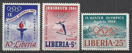 Liberia 1964 Mi 612-614 MNH ( ZS5 LBR612-614 ) - Winter 1964: Innsbruck