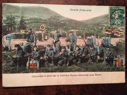 Cpa De 1908, Militaria, CPA - Armée Française - Chasseurs à Pied Sur La Frontiere Franco Allemande Près De Saales (67) - Otros Municipios