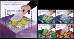 Falkland Islands 2013, Referendum On Falkland Islands, MNH Bloc And Stamps Set - Islas Malvinas