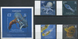 South Georgia And The South Sandwich Islands 2010, Squids - Octopuses, MNH S/S And Stamps Set - Géorgie Du Sud